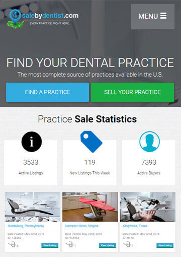 PHP powered website for the buy and sell of USA Dental Practice