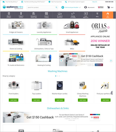 ASP.NET based CMS Online Store to sell Home Appliances