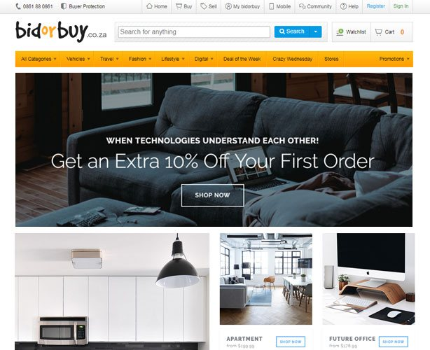 PHP based E-commerce Website for South Africa Online Marketplace