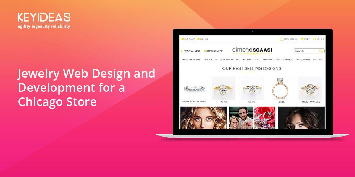Jewelry web design and development for a Chicago based store