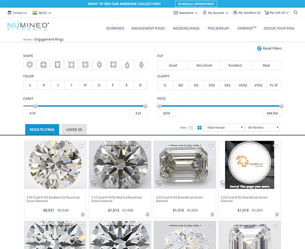 Jewelry web design and development for Chicago ECommerce store