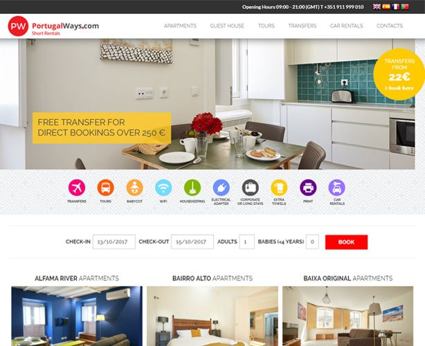 Rent out Holiday Apartments and guest house in Portugal with booking API integrated. It is a multi-lingual site providing variety of services like car rentals, tours, transfer, etc.