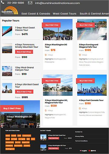 Wordpress website development for Tour & Travel company